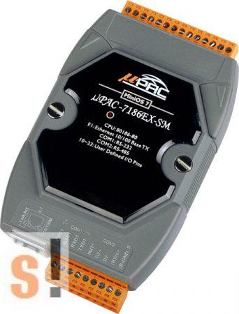 μPAC-7186EX-SM CR # Kontroller/MiniOS7/C nyelv/SRAM/80MHz CPU/10/100 Ethernet/640K SRAM/512K Flash/RS-232 port/RS-485 port, ICP DAS, ICP CON