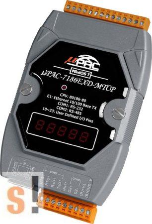 μPAC-7186EXD-MTCP CR # Controller/Konverter/Gateway/MiniOS7/C nyelv/Modbus TCP/Ethernet/RS-232/RS-485/512KB/LED, ICP DAS