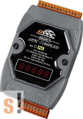 μPAC-7186PEXD-MTCP # Controller/MiniOS7/C nyelv/Modbus TCP/PoE Ethernet/RS-232/RS-485/512KB/LED, ICP DAS